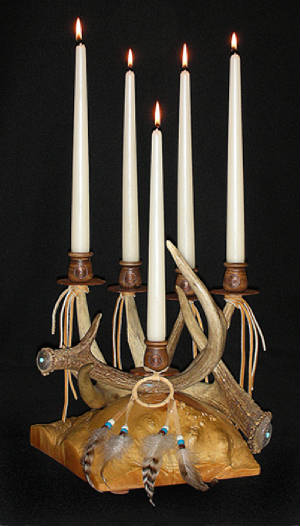 southwest style candelabra with antlers
