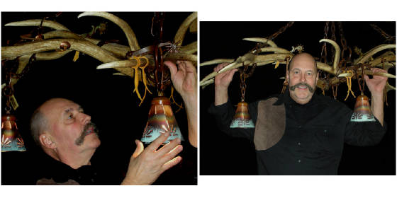 dave sheppard with his elk antler chandelier