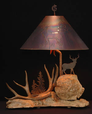one of a kind mule deer antler lamp