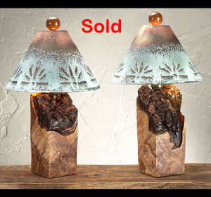 pair of burl wood table lamps