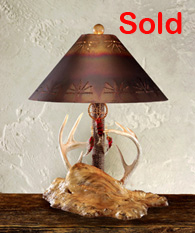 whitetail antler and burl lamp